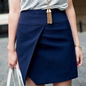 J. CREW Navy blue Crossover Wrap style Skirt